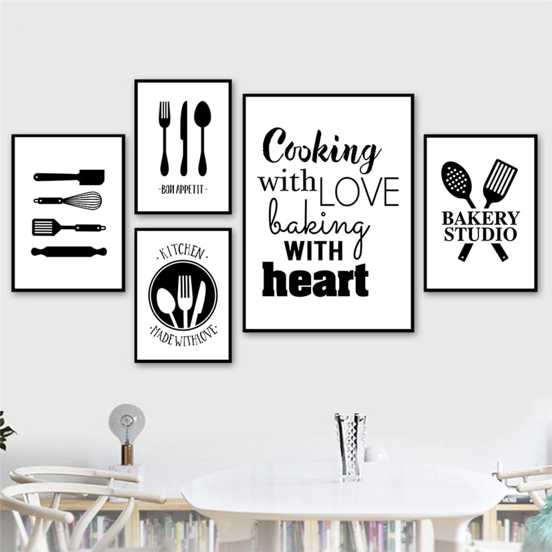 Black White Cooking With Love Kitchen Quote Wall Art Canvas Painting Prints Posters Dining Room Decoration Picture Ch117 Accents